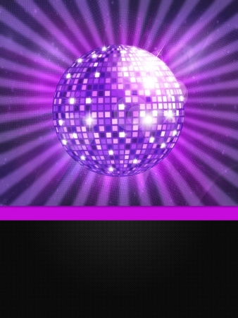 Illustration of colorful disco ball music background