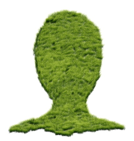 brain works: Abstract illustration of human head made of grass