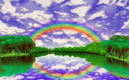 Illustration of rainbow over the lake after the rain  illustration