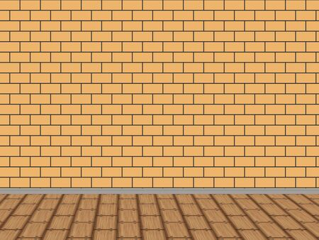 Illustration of old interior with brick wall background  illustration