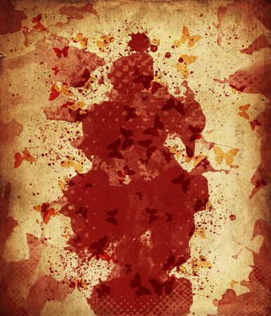 Abstract blood spots on grunge paper background  photo