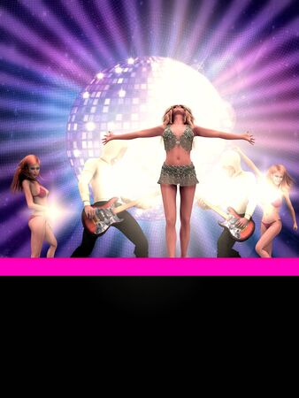 Illustration of dancing 3d people and big disco ball  Stock Illustration - 14761405