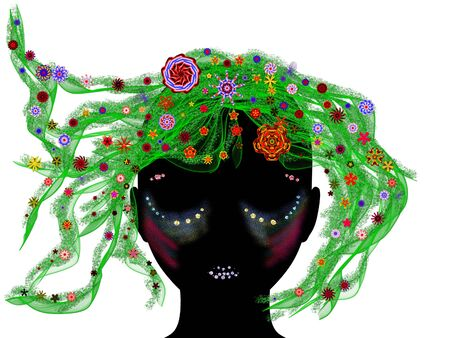 Abstract illustration of girl silhouette with floral background Stock Illustration - 14761404
