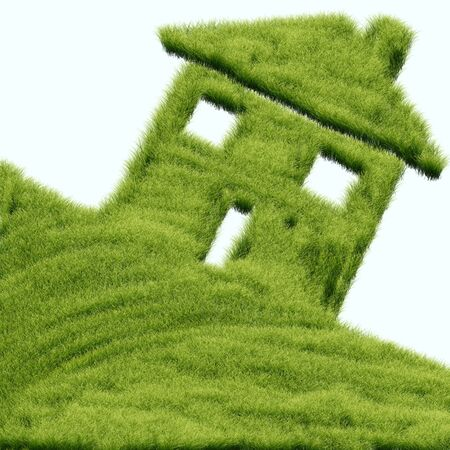 Abstract conceptual green grass house background Stock Photo - 14761455