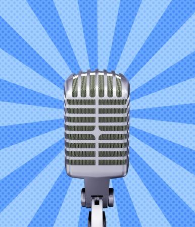 entertaining presentation: Illustration of classic retro microphone on blue background