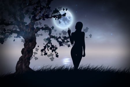 witchcraft: Abstract illustration of tree and girl