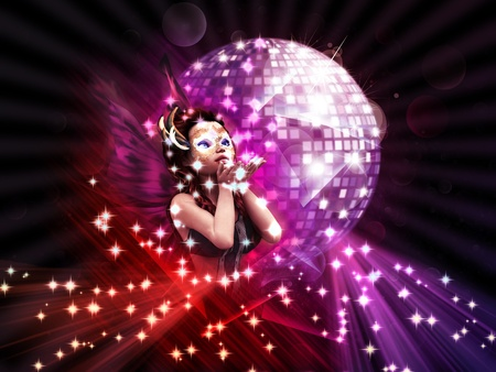 Abstract illustration of a girl on disco party background. Stock Illustration - 14912961