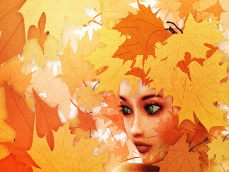 Abstract illustration of autumn leaves background and girl's face. Stock Illustration - 14913070