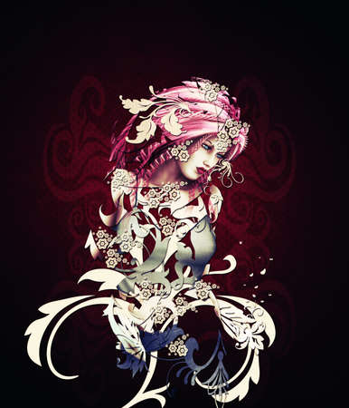 Abstract illustration of 3d girl made of swirls. illustration