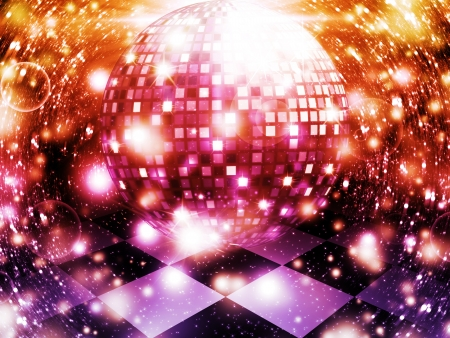 Illustration of abstract dancing floor with disco ball