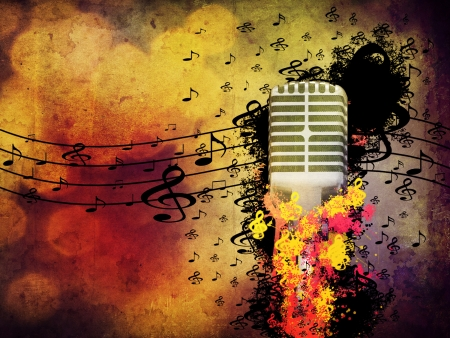 Abstract illustration of 3d microphone on grunge background   Stock Photo