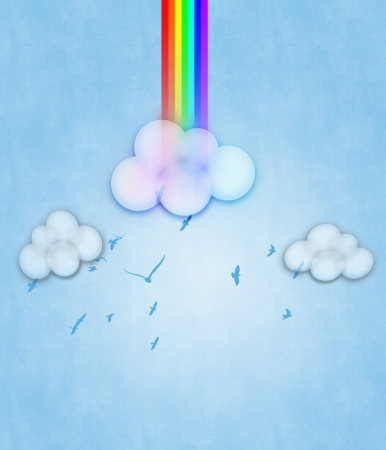 Colorful design with clouds and rainbow on blue