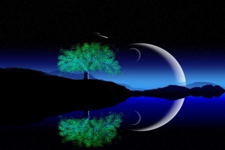 Illustrazione di luna crescente con sfondo bella notte Archivio Fotografico - 14913075