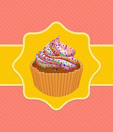 Illustration of cute cup cake card design. illustration