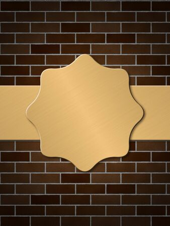 Illustration of abstract golden plate on brick wall background  illustration