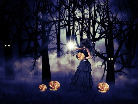 Illustration of Halloween witch with pumpkin in the dark forest  illustration