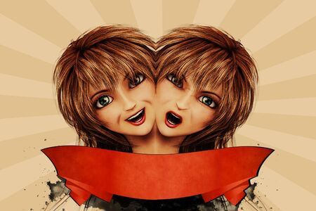 Abstract illustration of two girl illustration