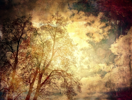 Abstract grunge textured vintage background with trees  스톡 콘텐츠