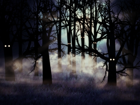 Abstract illustration of spooky foggy forest at halloween night
