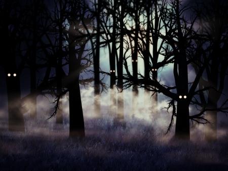 Ilustración abstracta del bosque de niebla fantasmal en la noche de Halloween Foto de archivo