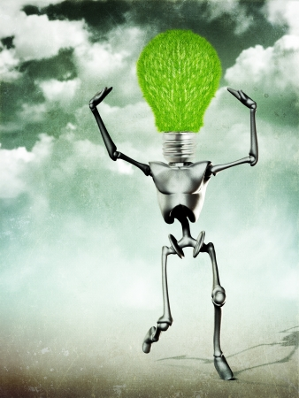 Abstract grunge illustration of metal humanoid with  grass light bulb  Stock Illustration - 15058733