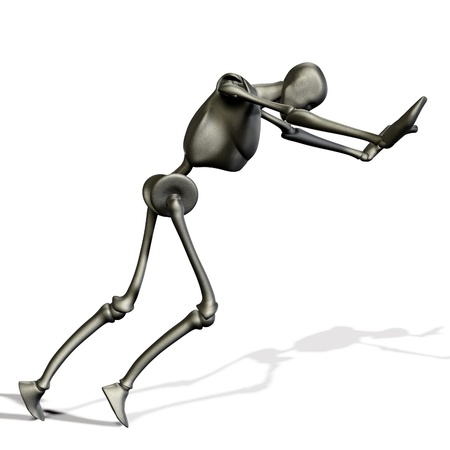 Abstract 3d metal robot on white background Stock Photo - 15058676