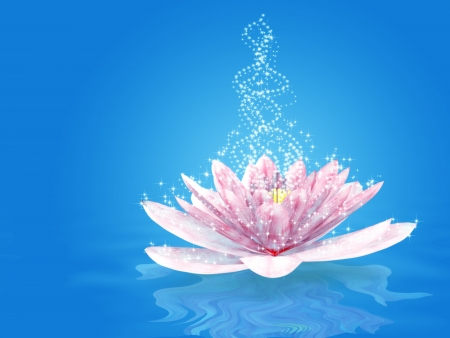 Abstract illustration of magic sparkling lily background  Stock Photo