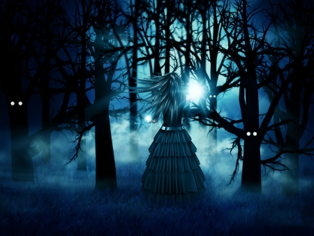 Abstract illustration of dark witch in the halloween forest at night