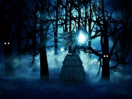 heks: Abstracte illustratie van donkere heks in het Halloween bos 's nachts