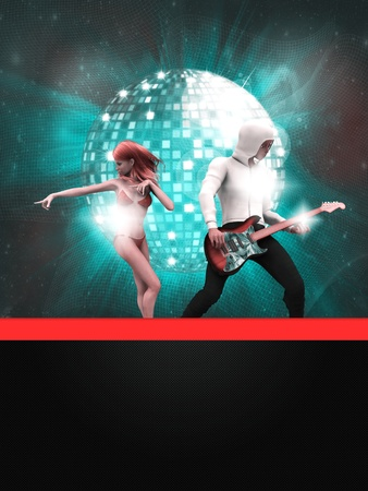 Illustration of party banner with disco ball and dancing 3d people Stock Illustration - 15147057