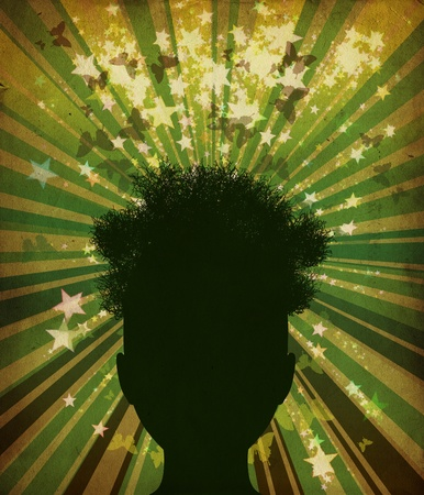 Abstract grunge illustration of tree silhouette of a man Stock Photo