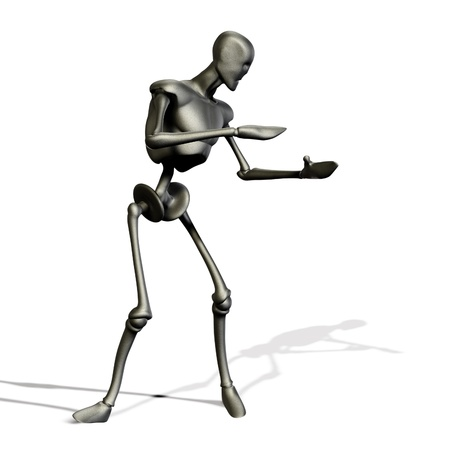 Abstract 3d metal robot on white background. Stock Photo - 15221654