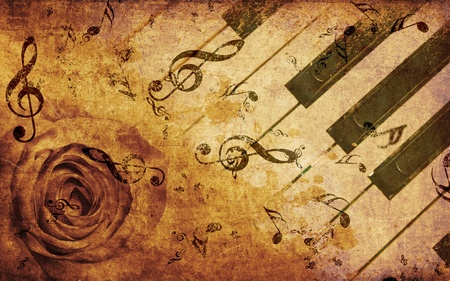 tones: Abstract grunge rose and piano, vintage music background