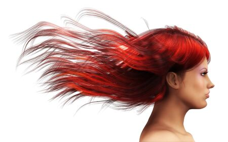 3d girl with red hair blowing in the wind  photo