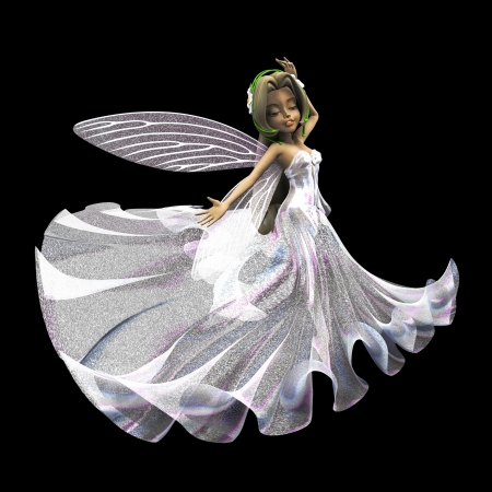 mythological character: 3d render of cute fairy in white glittering dress on black