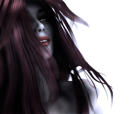 3d digitally rendered illustration of a gothic woman on white. illustration