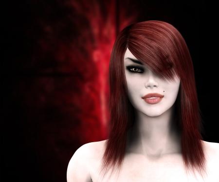 mujer fea: 3d digital rindió la ilustración de una mujer gótica sobre fondo rojo.