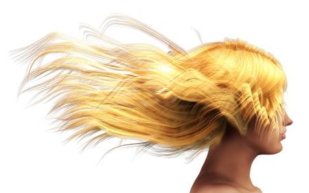 3d girl with blond hair blowing in the wind. Stock Photo - 15281884