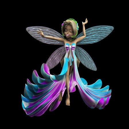 fairyland: 3d render of cute fairy in colorful  glittering dress  Stock Photo