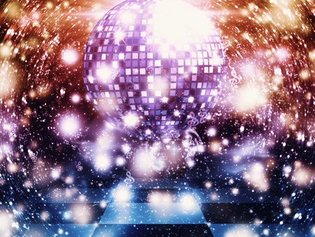 Illustration of dancing floor with disco ball  Stock Illustration - 15281927
