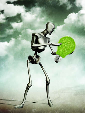 Abstract grunge illustration of metal humanoid holding grass light bulb. Stock Illustration - 15281935