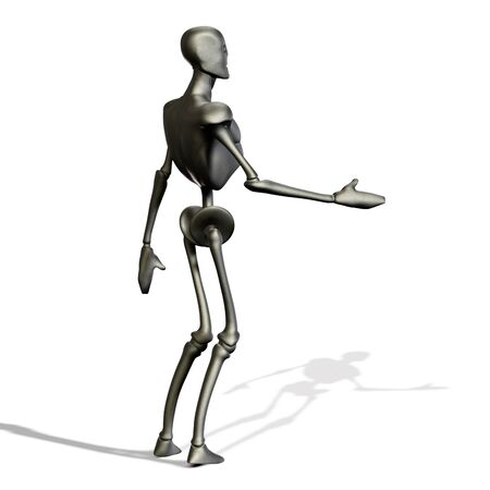 Abstract 3d metal robot on white background. Stock Photo - 15281837
