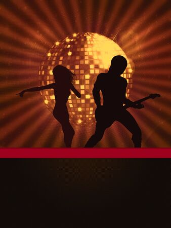 Illustration of party banner with disco ball and dancing people. Stock Illustration - 15281929