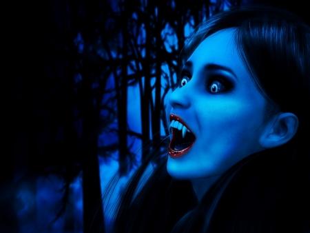 3d vampire: Illustration of 3d rendered vampire girl in dark forest. Stock Photo