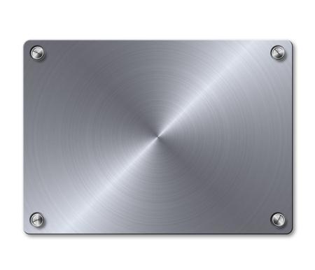 oxidated: Lat�n plateado de metal brillante con tornillos en el fondo blanco.