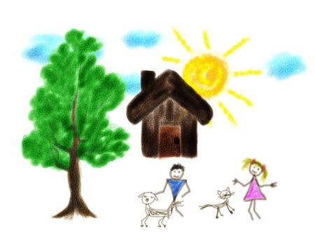 childrens playing: Drawing of a house and childrens playing with pets.
