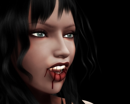 3d witch: 3d digitally rendered image of  woman vampire with fangs.