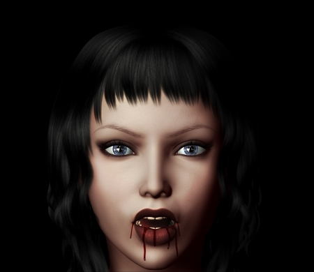 3d digitally rendered image of  woman vampire with fangs. photo