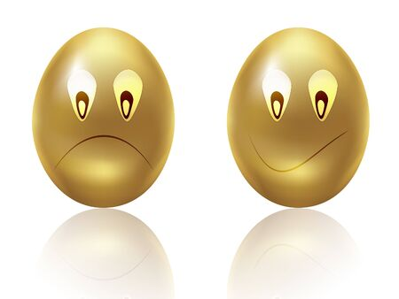 Illustration of golden egg with sad face on white background  illustration