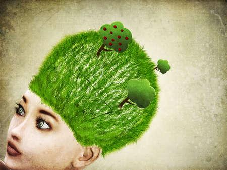 thinking machine: Ilustraci�n abstracta 3d de la mujer con la bombilla en el fondo cabeza Foto de archivo